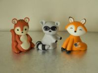 Fox, Raccoon & Squirrel Cake Toppers